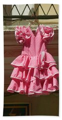 Pink Flamenco Dress For Little Girl Beach Towel