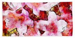 Beach Towel featuring the painting Pink Flowers 2 by Greg Collins