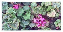 Pink Flowers Painting Beach Sheet