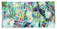 Pink Floyd At The Park Watercolor Portrait Beach Sheet by Fabrizio Cassetta
