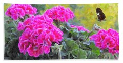 Pink Geraniums And Butterfly Beach Towel by Kenny Francis