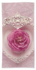 Pink Heart - Pink Camellia Beach Sheet by Cindy Garber Iverson