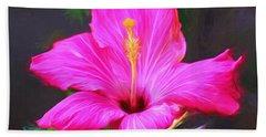 Pink Hibiscus Digital Painting In Oil Beach Towel