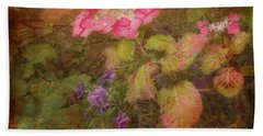Pink Hydrangea And Purple Pansies Beach Towel