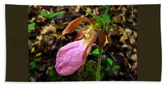 Pink Ladyslipper Orchid Beach Towel