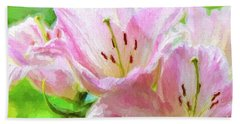 Pink Lilies Digital Painting Impasto Beach Sheet