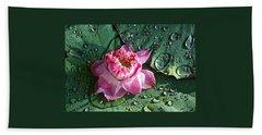 Pink Lotus Flower Beach Towel by Venetia Featherstone-Witty