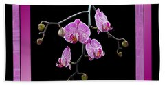 Framed Orchid Spray Beach Towel by Patti Deters