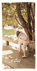 Beach Towel featuring the photograph Pink Painter by Brooke T Ryan