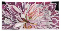 Beach Towel featuring the painting Pink Peony by Jane Girardot