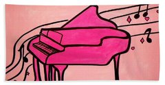 Pink Piano Beach Towel