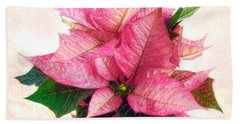 Pink Poinsettia Beach Towel by Louise Kumpf