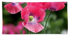 Pink Poppies Beach Towel by Rona Black