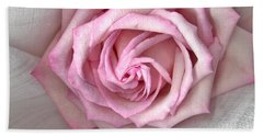 Beach Towel featuring the photograph Pink Rose And Linen by Sandra Foster