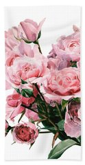 Pink Rose Bouquet Beach Sheet