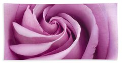 Pink Rose Folded To Perfection Beach Towel by Sandra Foster
