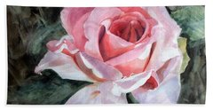 Pink Rose Greg Beach Towel
