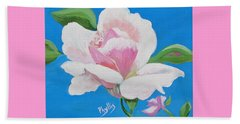 Beach Towel featuring the painting Pink Rose In Paint by Phyllis Kaltenbach