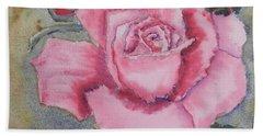 Pink Rose Beach Sheet by Pamela  Meredith