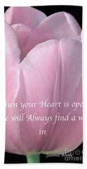 Pink Spring Tulip Beach Towel by Jeannie Rhode