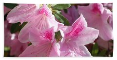 Pink Star Azaleas In Full Bloom Beach Sheet