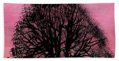 Beach Towel featuring the drawing Pink Sunset Tree by D Hackett