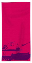 Beach Towel featuring the mixed media Pink Tank by Michelle Dallocchio