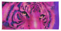 Beach Towel featuring the digital art Pink Tiger by Jane Schnetlage
