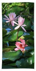 Pink Water Lillies Beach Sheet