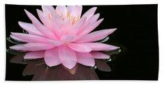 Pink Water Lily In A Dark Pond Beach Sheet