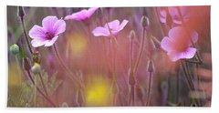 Pink Wild Geranium Beach Towel by Heiko Koehrer-Wagner