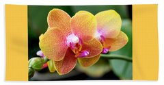Pink Yellow Orchid Beach Towel