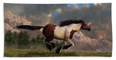 Pinto Mustang Galloping Beach Towel