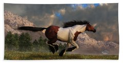 Pinto Mustang Galloping Beach Towel