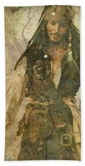 Pirate Johnny Depp - Steampunk Beach Towel by Absinthe Art By Michelle LeAnn Scott