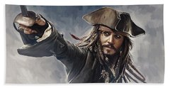 Pirates Of The Caribbean Johnny Depp Artwork 2 Beach Towel by Sheraz A