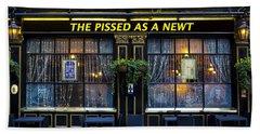 Pissed As A Newt Pub  Beach Sheet by David Pyatt