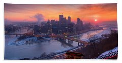 Pittsburgh Skyline Winter 2 Beach Sheet