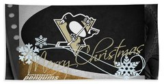 Pittsburgh Penguins Christmas Beach Towel