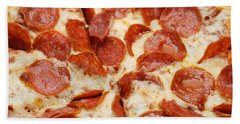 Beach Towel featuring the photograph Pizza Shoppe Pepperoni Pizza 1 by Andee Design