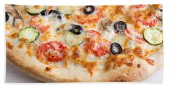 Pizza With Cheese And Vegetables Beach Towel