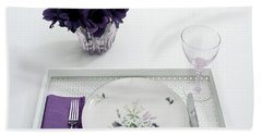 Place Setting With With Flowers Beach Towel