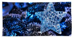 Blue Christmas Beach Towel