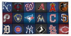 Play Ball Recycled Vintage Baseball Team Logo License Plate Art Beach Towel by Design Turnpike