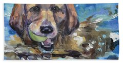 Playful Retriever Beach Towel