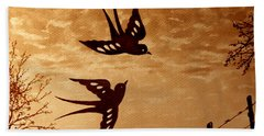 Beach Towel featuring the painting Playful Swallows Original Coffee Painting by Georgeta  Blanaru