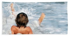 Playing In The Waves Beach Towel