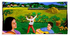 Playing Melodies Under The Shade Of Trees Beach Towel