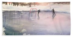 Playing On Ice Beach Towel by Yoshiko Mishina
