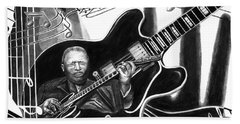 Playing With Lucille - Bb King Beach Towel by Peter Piatt